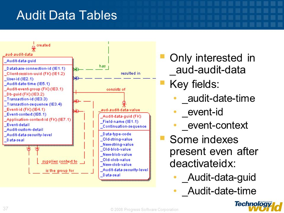 Audit Data Tables Only interested in _aud-audit-data Key fields:
