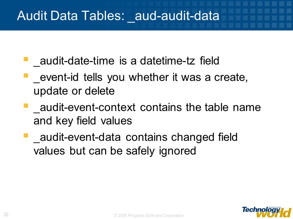 Audit Data Tables: _aud-audit-data