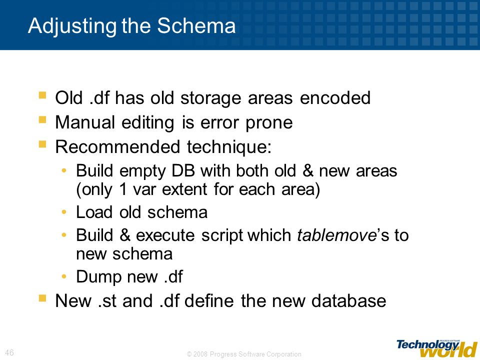 Adjusting the Schema Old .df has old storage areas encoded