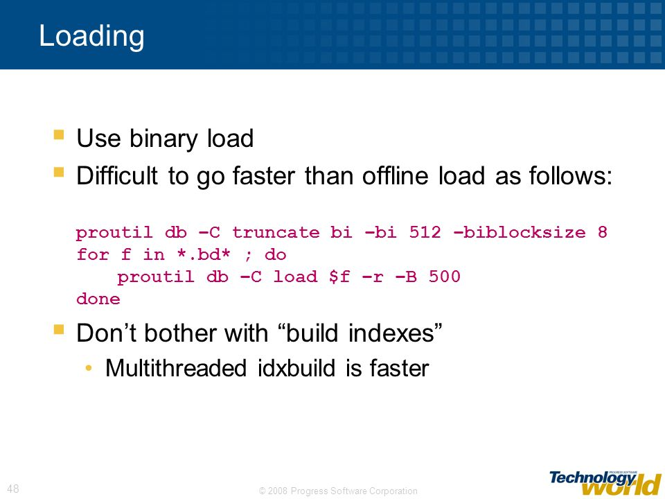 Loading Use binary load