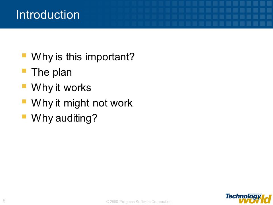 Introduction Why is this important The plan Why it works
