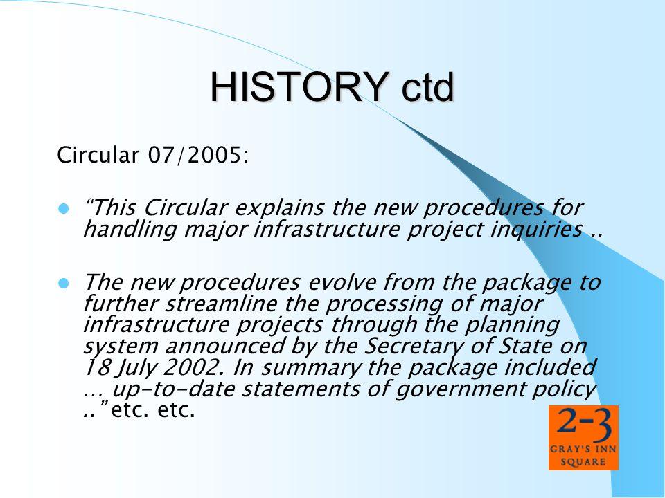 HISTORY ctd Circular 07/2005: