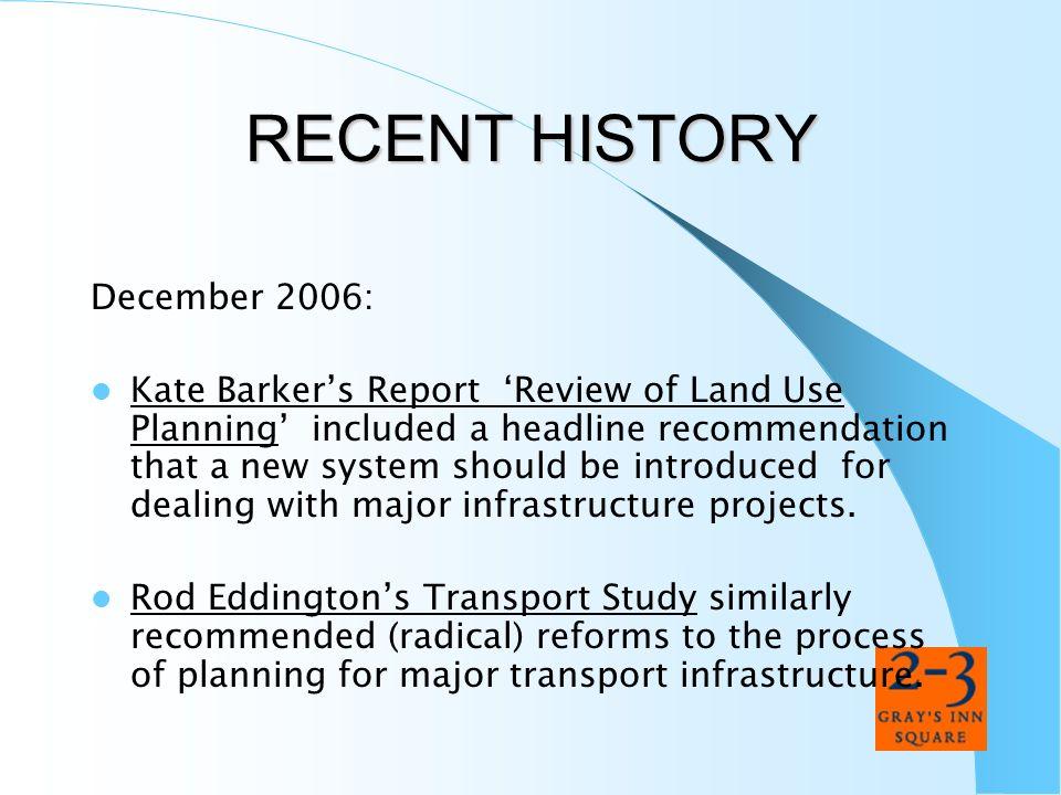 RECENT HISTORY December 2006: