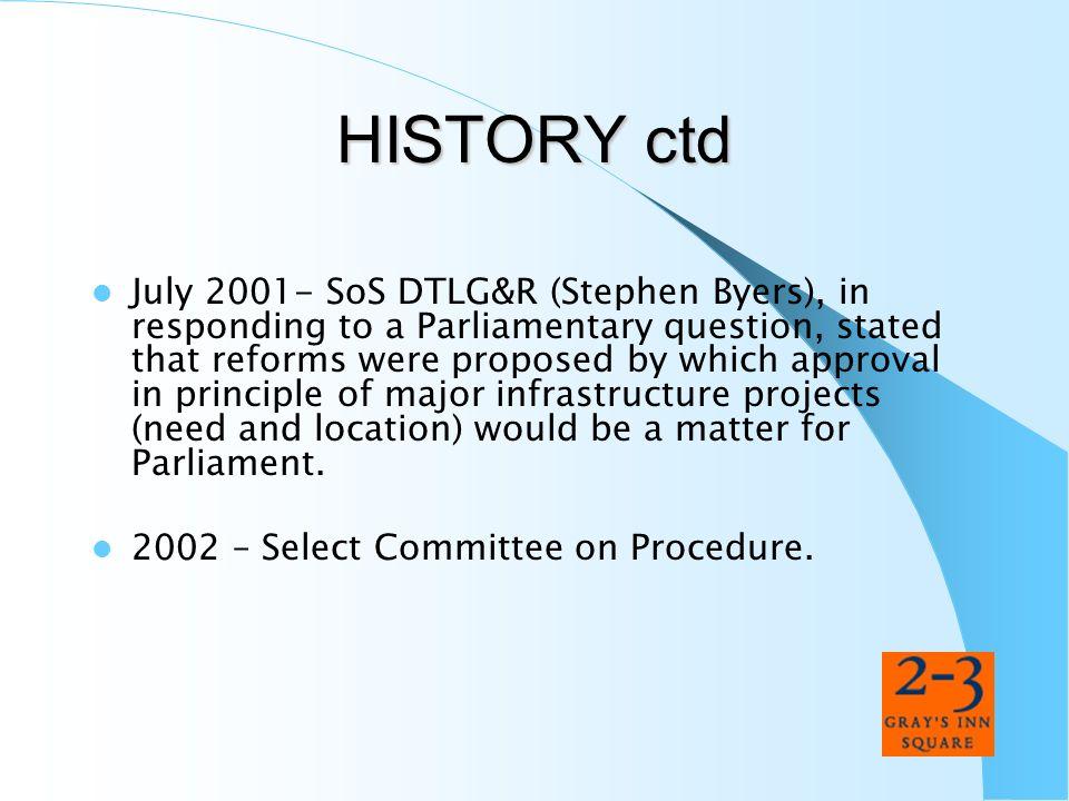 HISTORY ctd