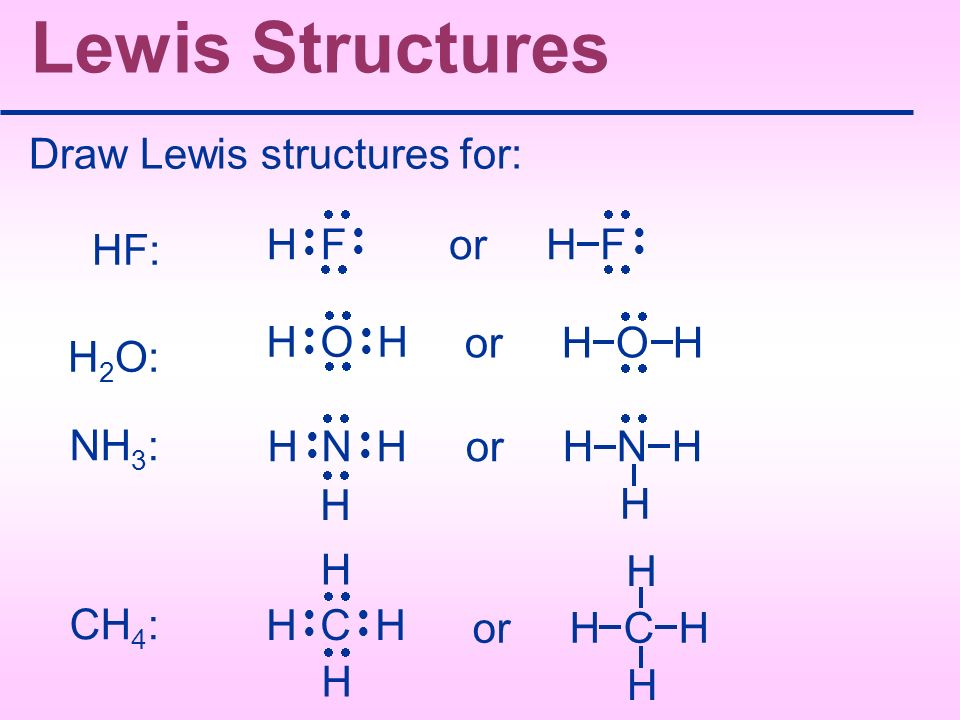 Lewis Structures Draw Lewis structures for: or H F HF: H F H O H