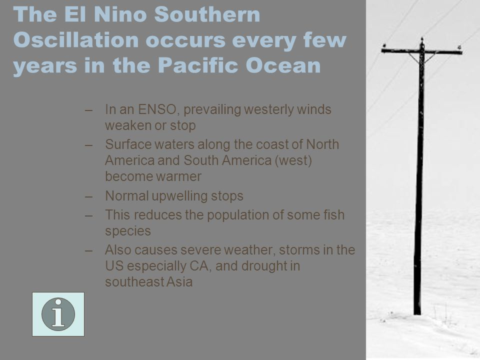 The El Nino Southern Oscillation occurs every few years in the Pacific Ocean
