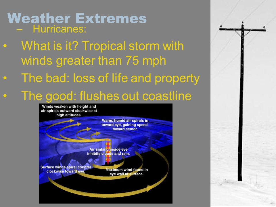 Weather Extremes Hurricanes: What is it Tropical storm with winds greater than 75 mph. The bad: loss of life and property.