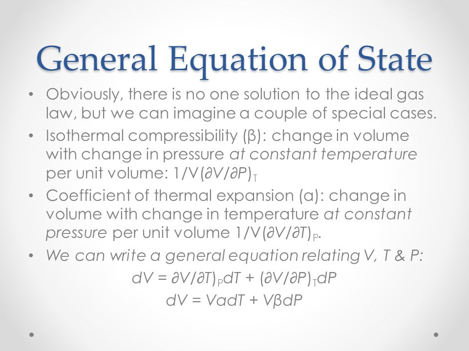 General Equation of State