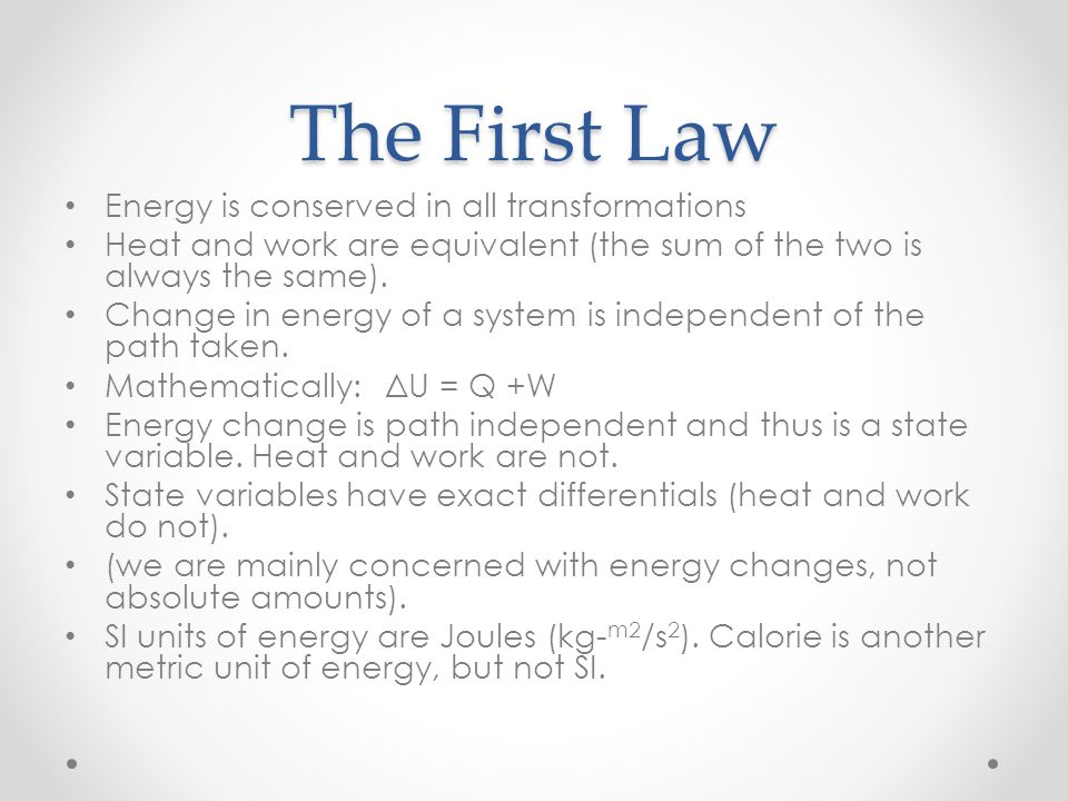 The First Law Energy is conserved in all transformations