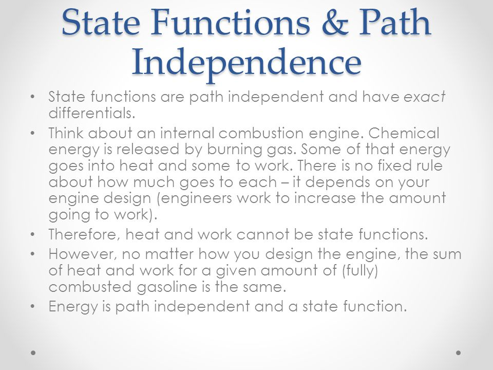 State Functions & Path Independence