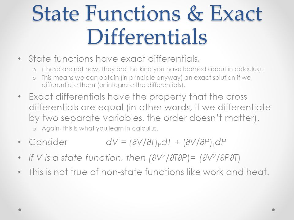 State Functions & Exact Differentials