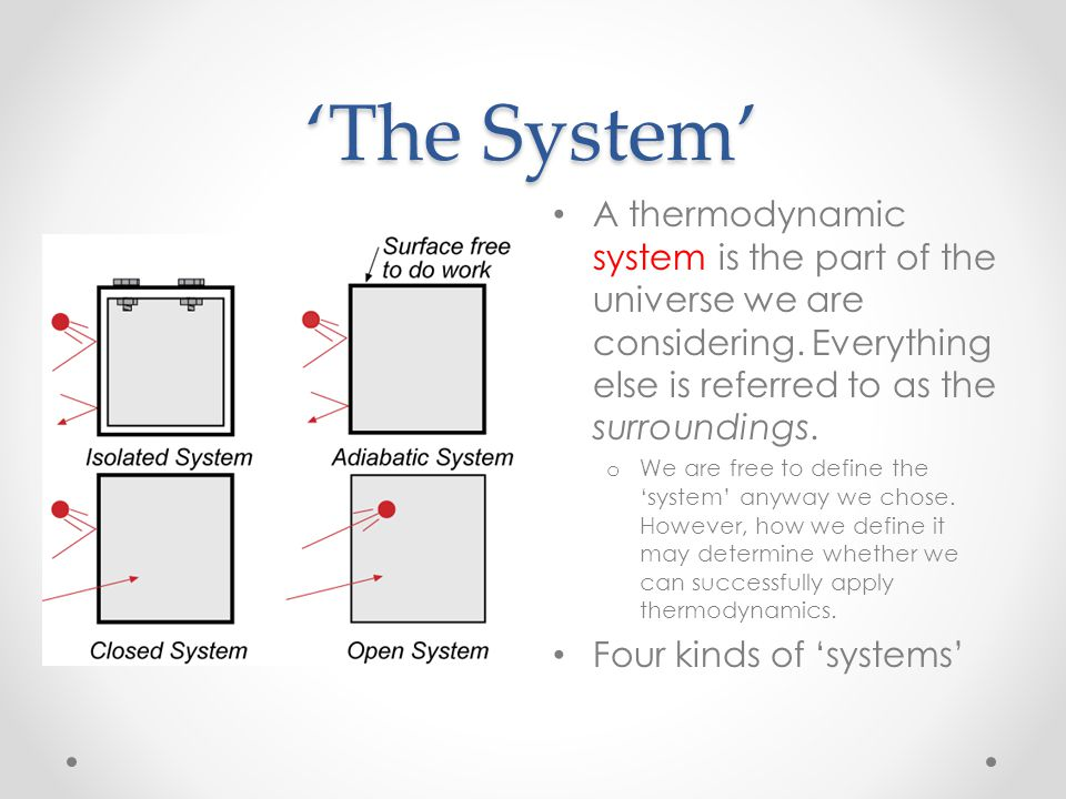 'The System' A thermodynamic system is the part of the universe we are considering. Everything else is referred to as the surroundings.