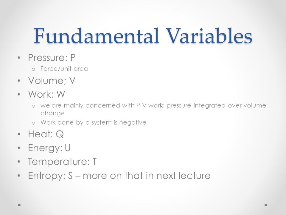 Fundamental Variables