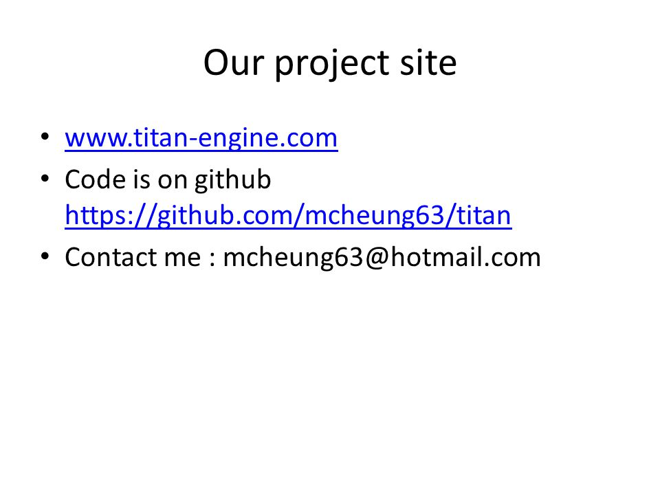 Our project site www.titan-engine.com