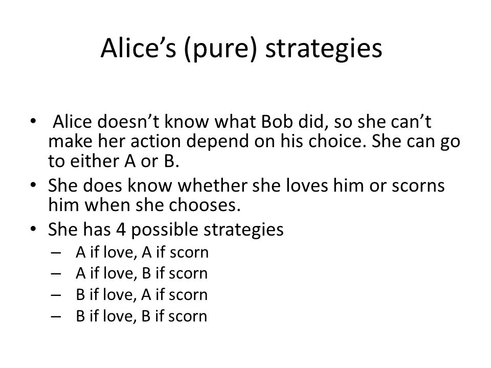Alice's (pure) strategies