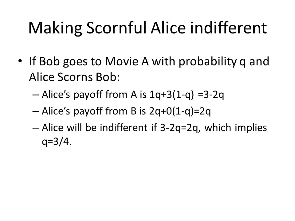 Making Scornful Alice indifferent