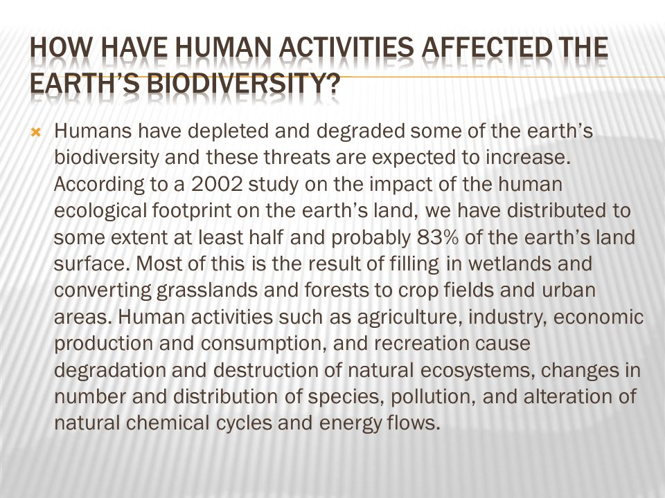 How have human activities affected the earth's biodiversity