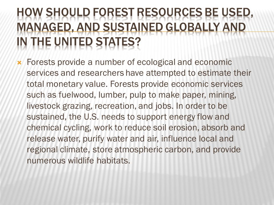 How should forest resources be used, managed, and sustained globally and in the United States