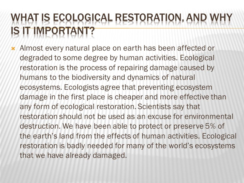 What is ecological restoration, and why is it important