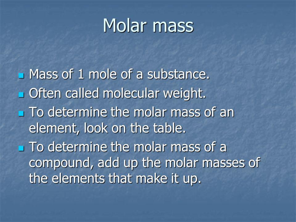 Molar mass Mass of 1 mole of a substance.