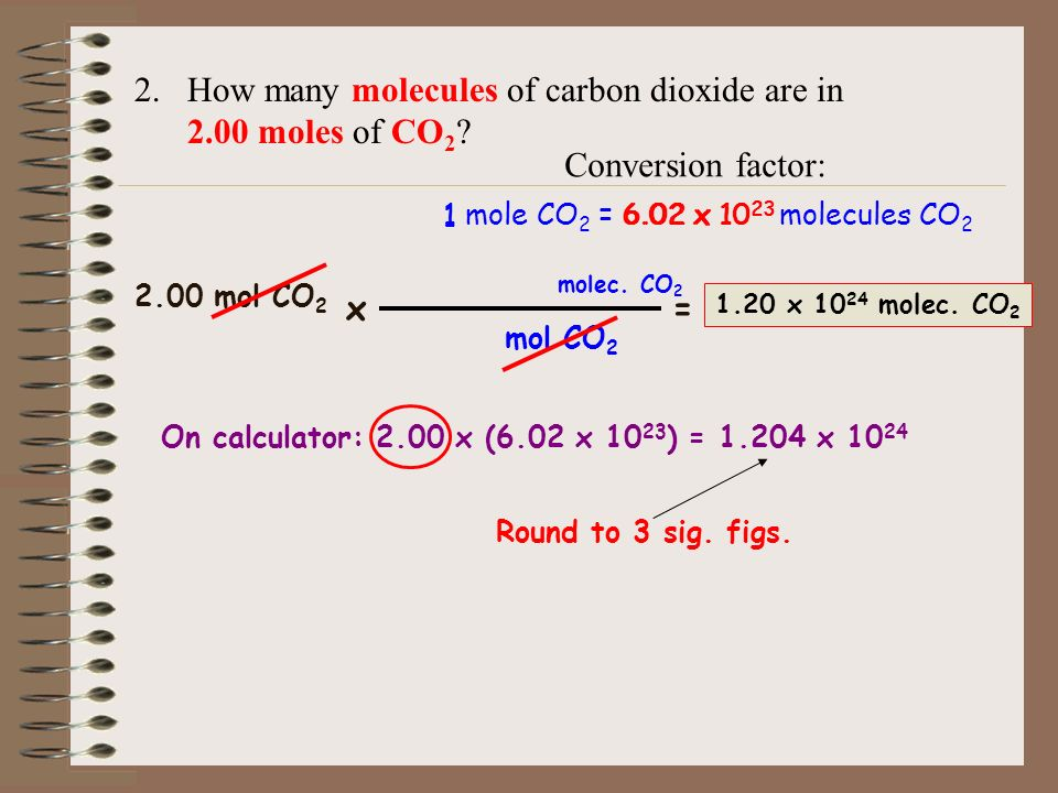 How many molecules of carbon dioxide are in 2.00 moles of CO2