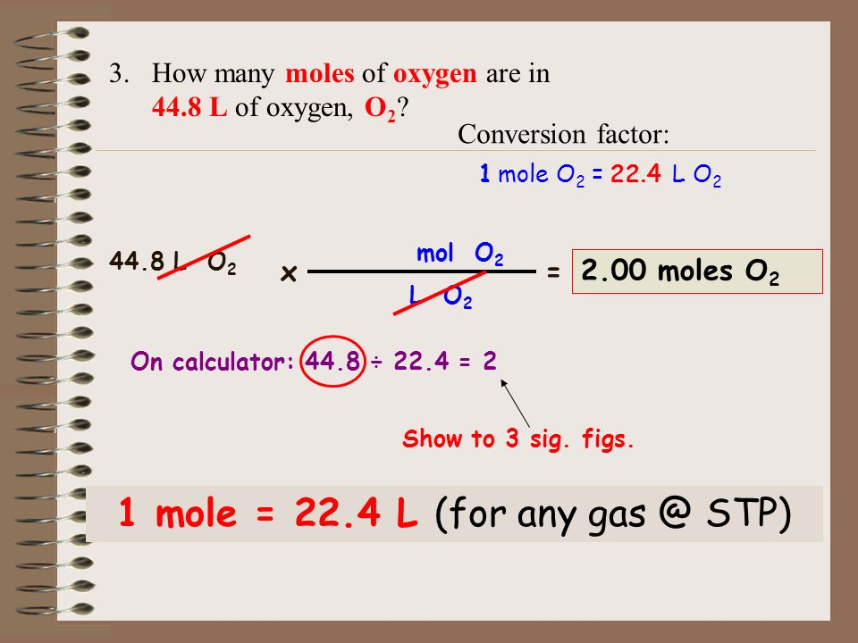 1 mole = 22.4 L (for any STP)