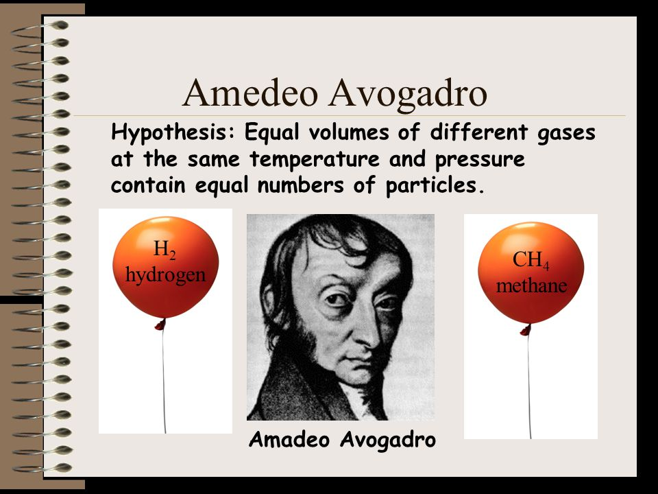 Amedeo Avogadro Hypothesis: Equal volumes of different gases at the same temperature and pressure contain equal numbers of particles.