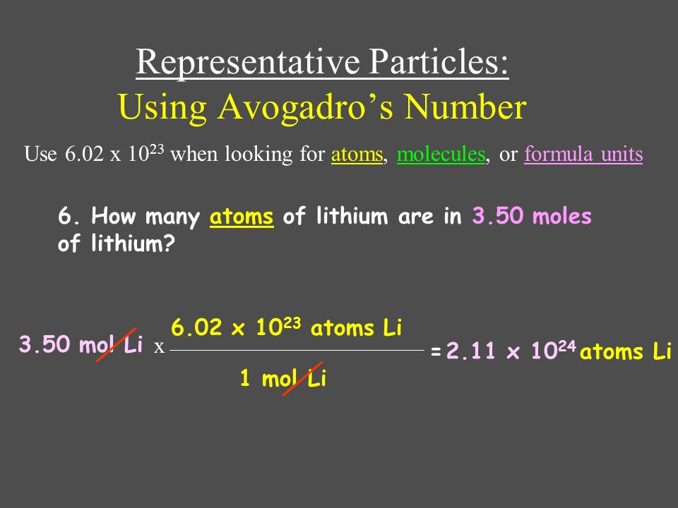Representative Particles: Using Avogadro's Number