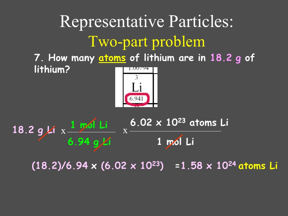 Representative Particles: Two-part problem