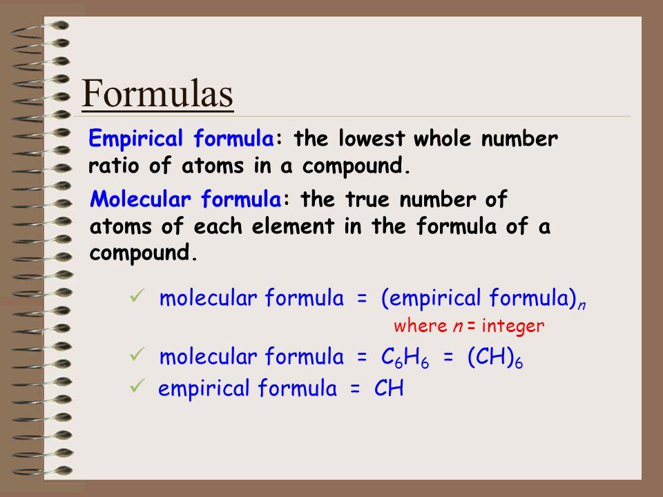 Formulas empirical formula = CH