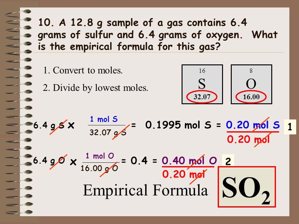 S O SO2 Empirical Formula S O x x