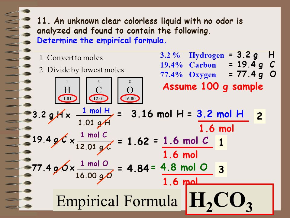 H C O H2CO3 Empirical Formula H C O Assume 100 g sample = 3.16 mol H