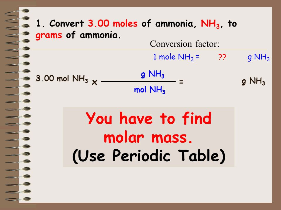 You have to find molar mass.
