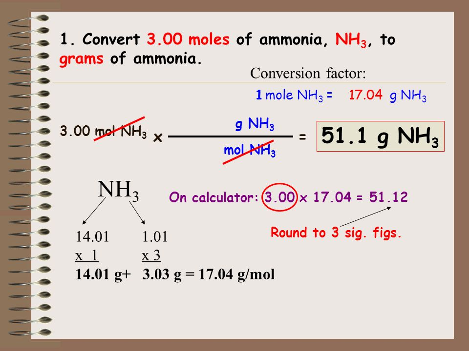 1. Convert 3.00 moles of ammonia, NH3, to grams of ammonia.