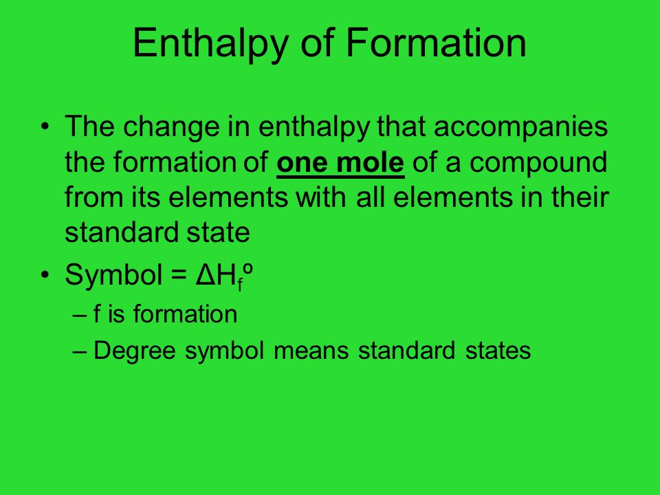 Enthalpy of Formation
