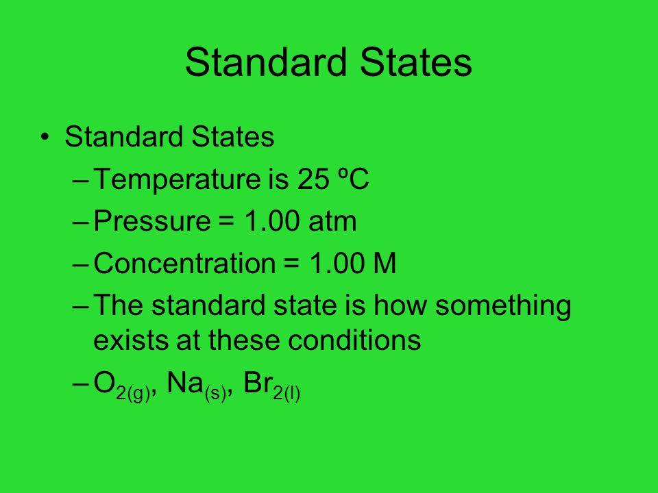 Standard States Standard States Temperature is 25 ºC