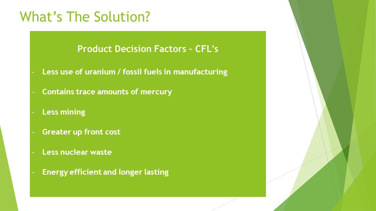 Product Decision Factors – CFL's