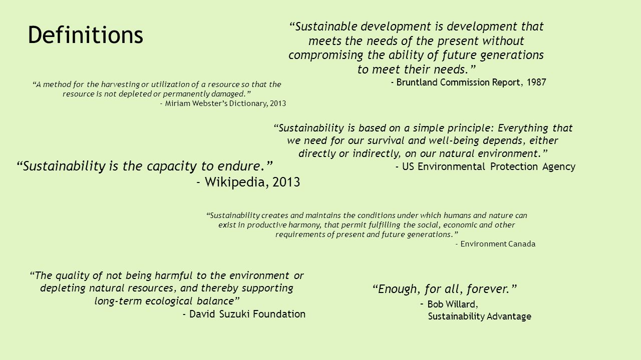 Sustainability is the capacity to endure.