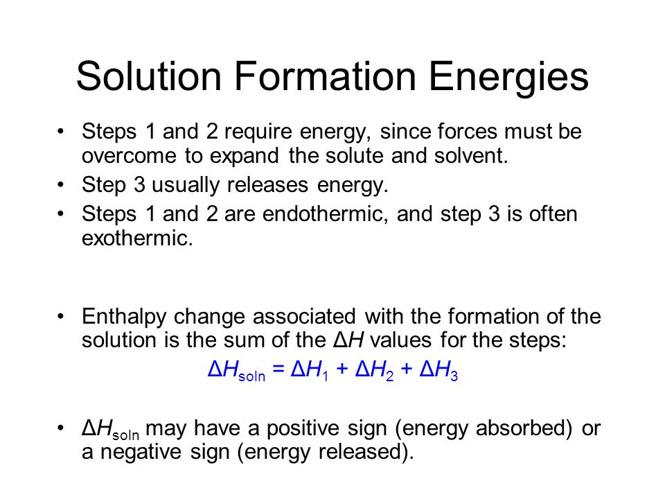 Solution Formation Energies