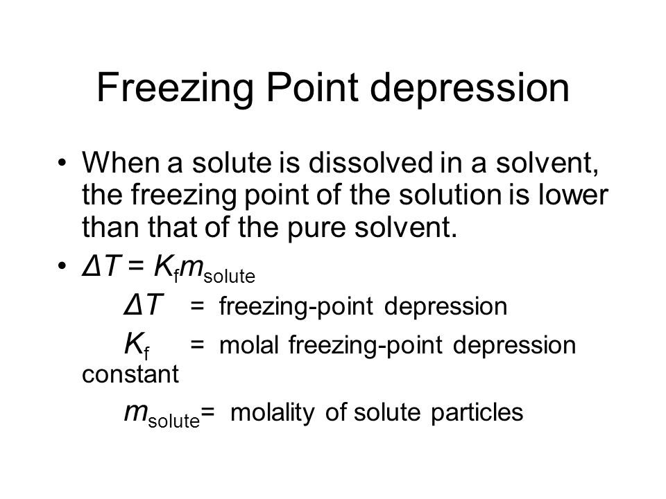 freezing point depression of benzophenone Determination of the molar mass of an unknown solid by freezing point depression goal and overview in the rst part of the lab, a series of solutions will be made in order to determine the freezing.