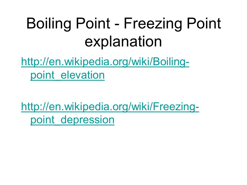 Boiling Point - Freezing Point explanation