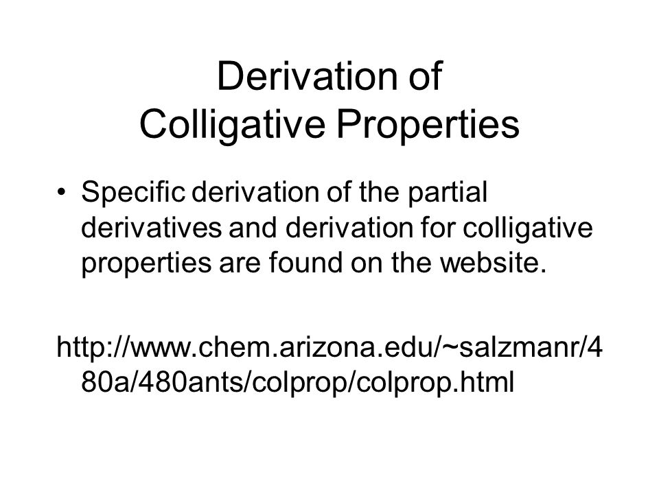 Derivation of Colligative Properties