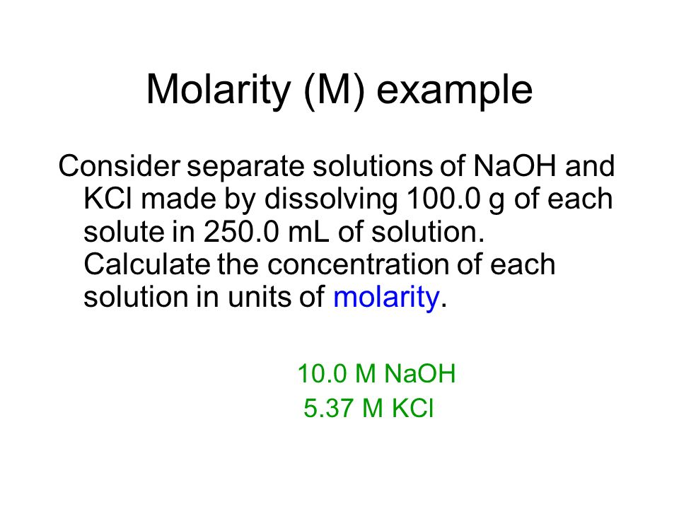 Molarity (M) example