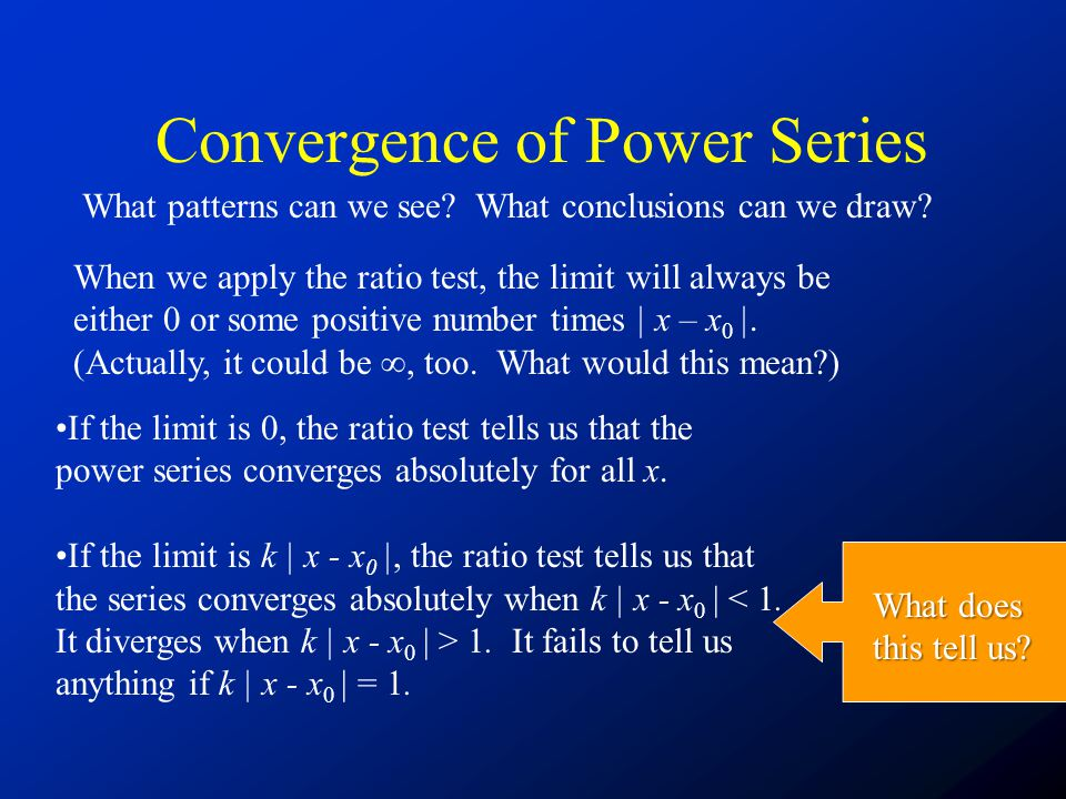 Convergence of Power Series