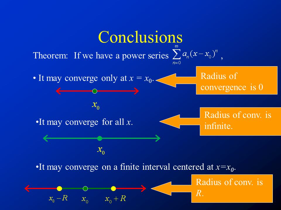 Conclusions Theorem: If we have a power series ,