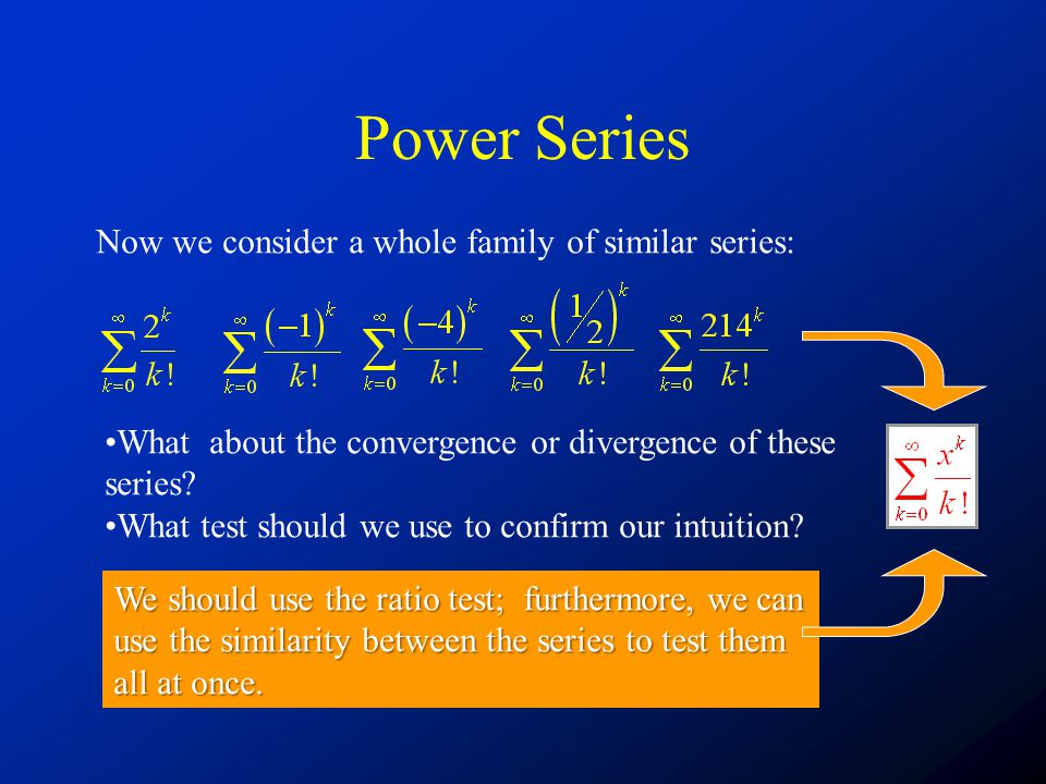 Power Series Now we consider a whole family of similar series: