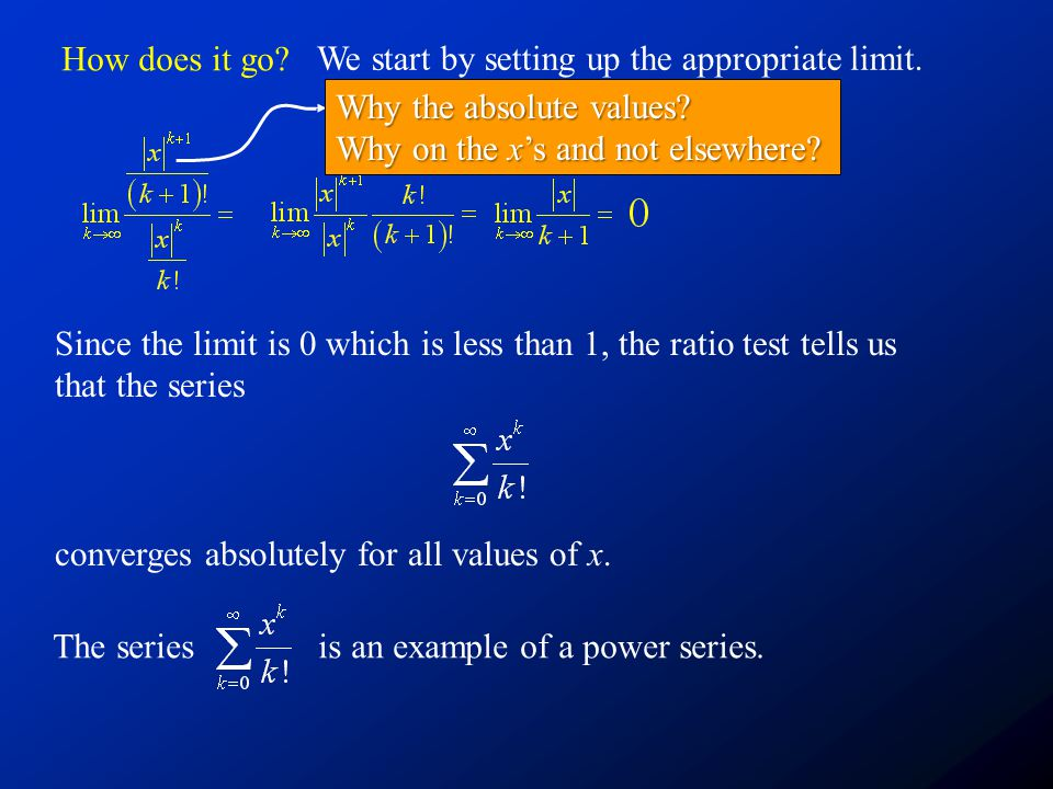 How does it go We start by setting up the appropriate limit. Why the absolute values Why on the x's and not elsewhere