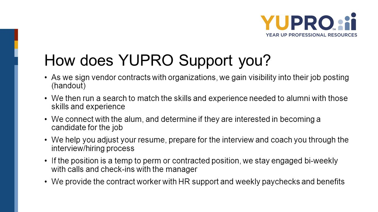 How does YUPRO Support you