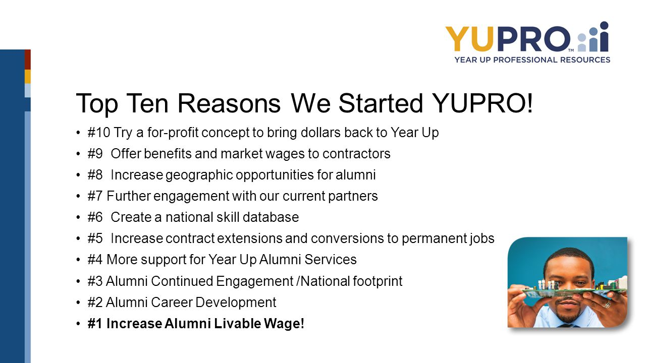 Top Ten Reasons We Started YUPRO!