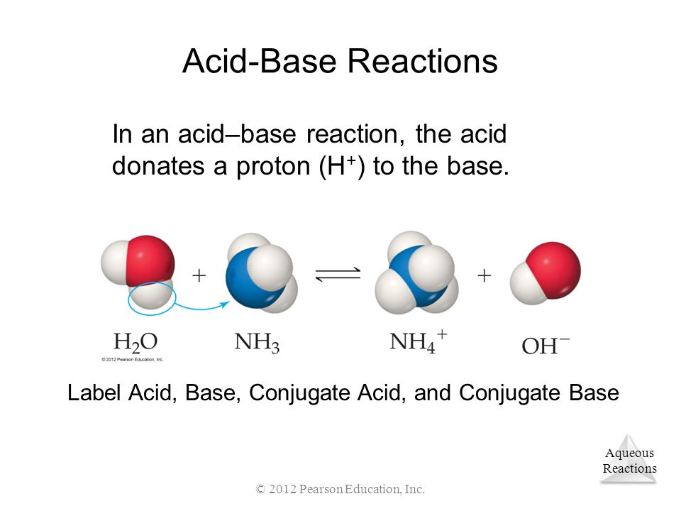 Acid-Base Reactions In an acid–base reaction, the acid donates a proton (H+) to the base. Label Acid, Base, Conjugate Acid, and Conjugate Base.